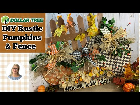 DIY Rustic Pumpkins | Dollar Tree Pumpkins 2019 | How to Create a Picket Fence | How to Paint a Sign