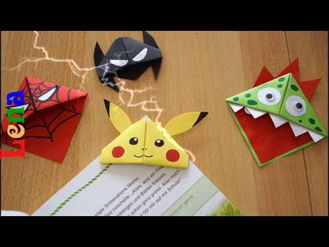Pikachu Lesezeichen Selber Machen  - Corner Bookmark Pikachu DIY - Закладка для книг из бумаги