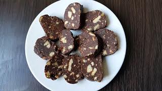 Шоколадная колбаска к чаю за 15 минут. // из печенья.