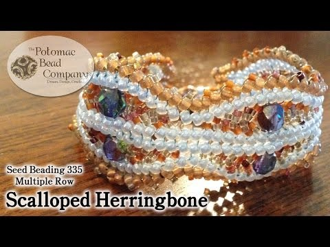 Multiple Row Scalloped Herringbone Stitch