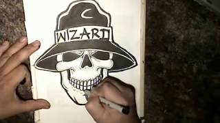 How to draw a Cholo Skull BY -  WIZARD
