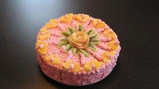 Йогуртовый Торт. Простой бисквит. Рецепт крема для торта.