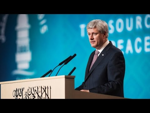Canadian Prime Minister Stephen Harper speaks at Ahmadiyya Muslim Convention 2015
