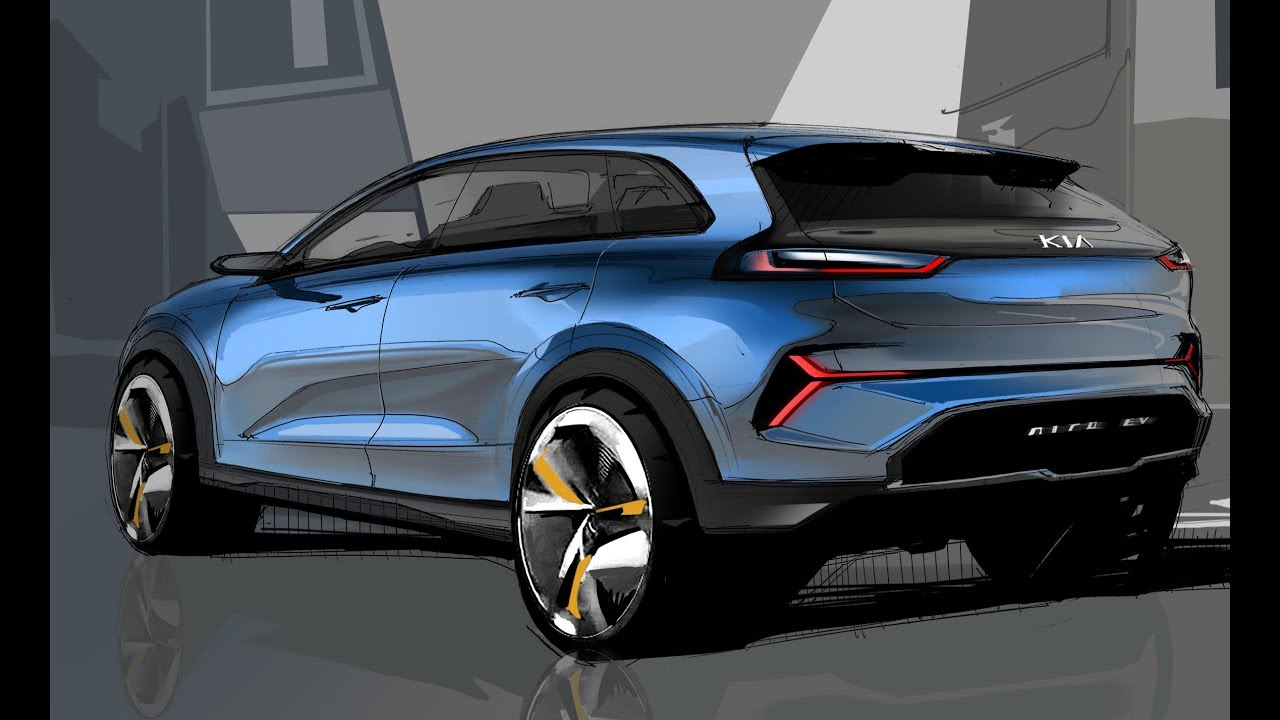 Car Design Sketch Drawing Kia Niro Ev Concept