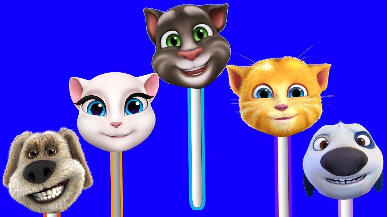 Lollipop Finger Family Song | Talking Tom and Friends Finger Family