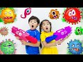 Suri and Sammy Pretend Play Stay at Home Viruses and Bacteria Story for Children
