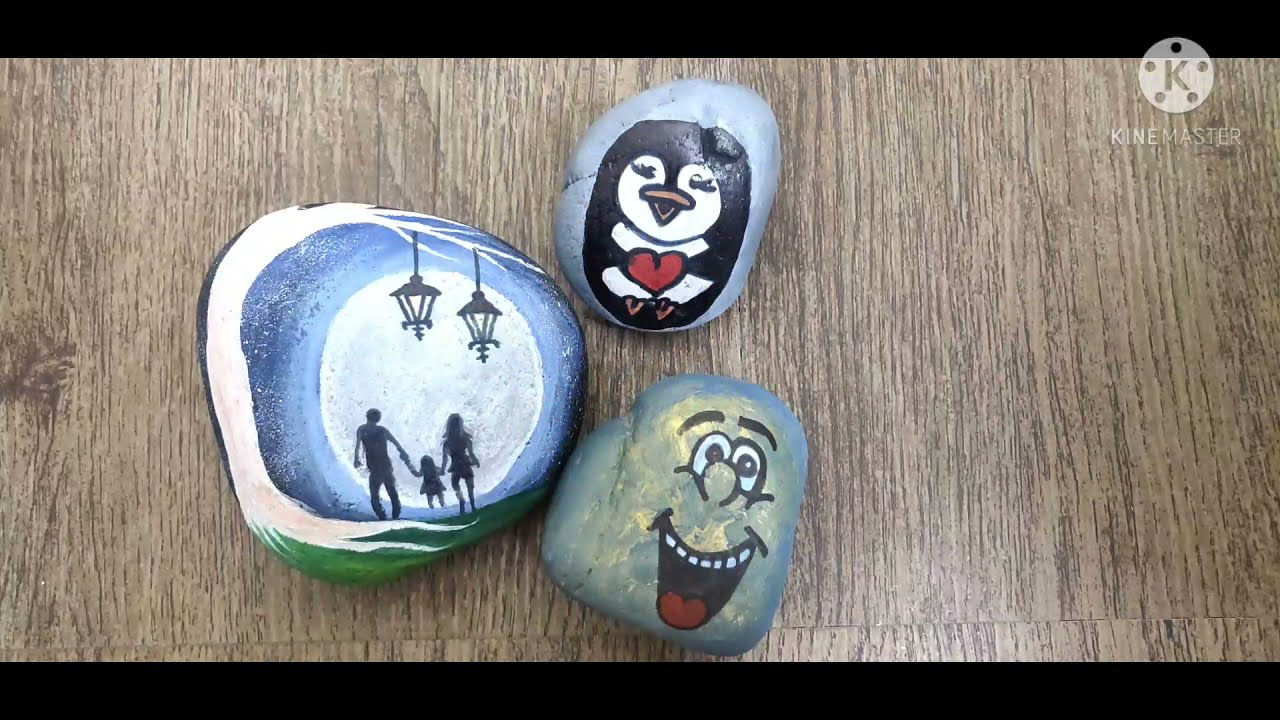 STONE PAINTING TIMELAPSE.... Beautiful Stone painting Tutorial for beginners ❤️❤️