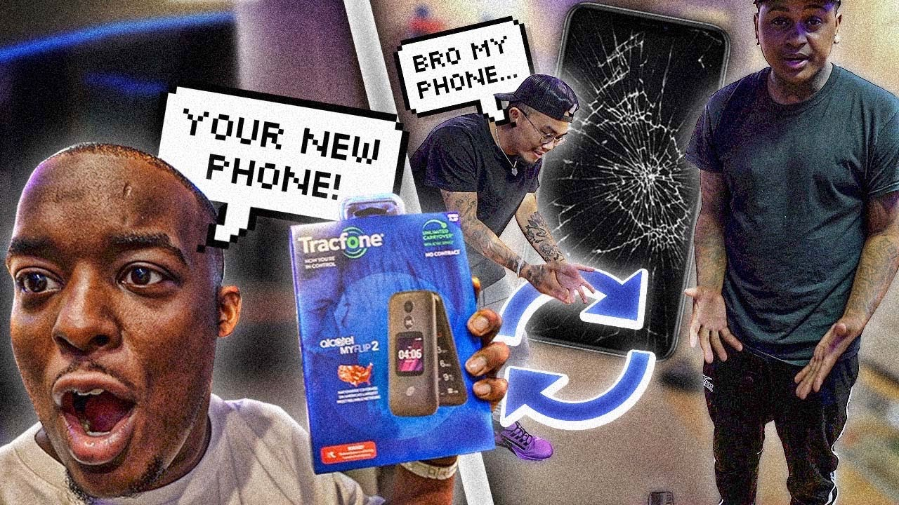 Download I BROKE My Homie iPhone & Surprised Him With A Flip Phone !!! WE FOUGHT !!!