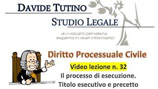 Diritto processuale civile - Video Lezione n.32: Il processo di esecuzione. Il titolo esecutivo