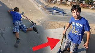 KID TAKES MY CUSTOM PRO SCOOTER AT SKATEPARK!
