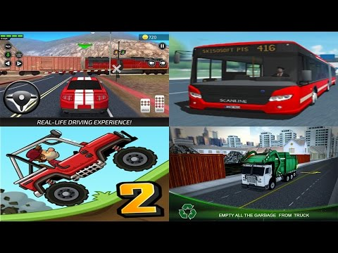 Hill Climb Racing 2 vs Car Driving Academy vs Public Transport Simulator vs Garbage Truck Driver