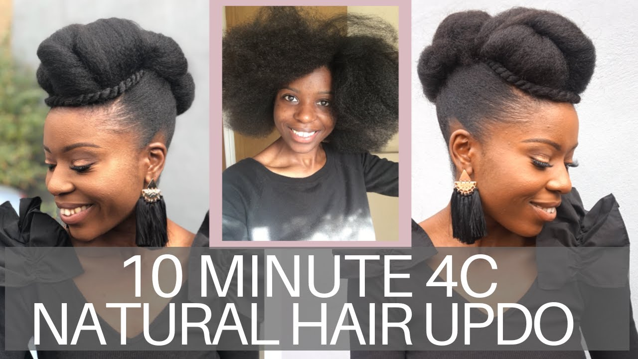 Simple Updo Hairstyle On 4c Natural Hair Blow Out Youtube