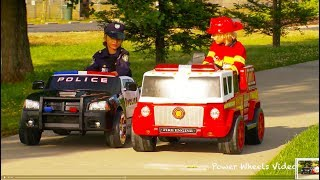 Kids Police Car vs Fire Engine - Power Wheels Race!