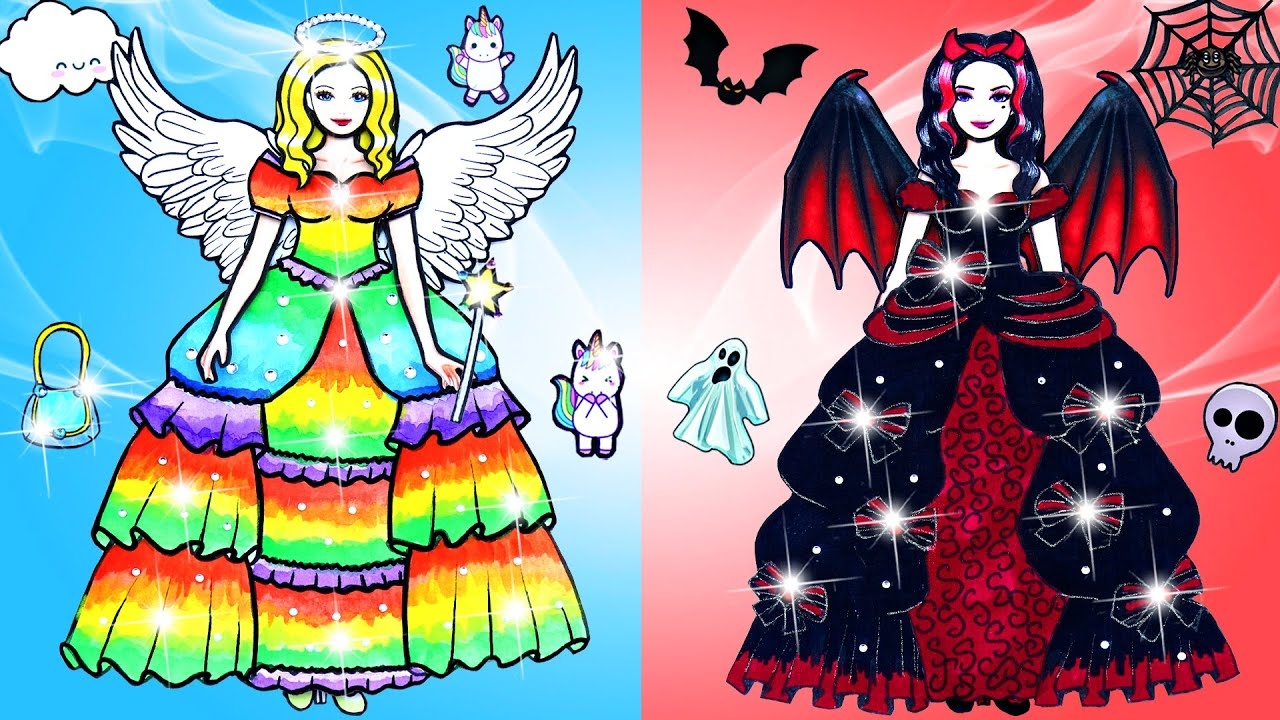 Paper Dolls Dress Up ~ Beautiful Skirt Prom Angels & Demons Dress Handmade Quiet Book ~ Dolls Beauty
