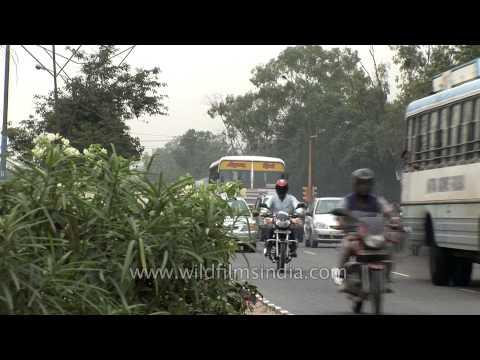 Busy traffic on the roads of Faridabad, Haryana