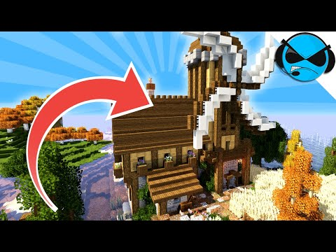 minecraft-how-to-build-a-windmill-tutorial- -minecraft-village-part-21