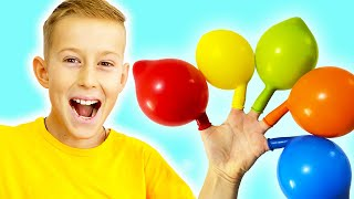 Alex plays and fills balloons with water - Daddy Finger Nursery Rhymes Kids Songs
