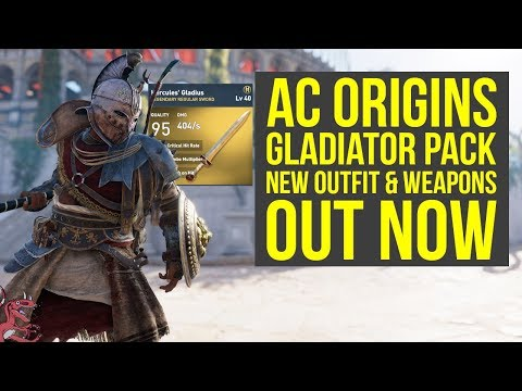Assassin's Creed Origins Gladiator Pack NEW OUTFIT & BEST WEAPONS OUT NOW (AC Origins DLC)