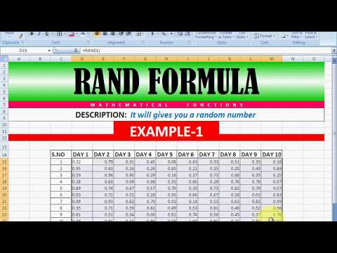 RAND formula in Excel with example