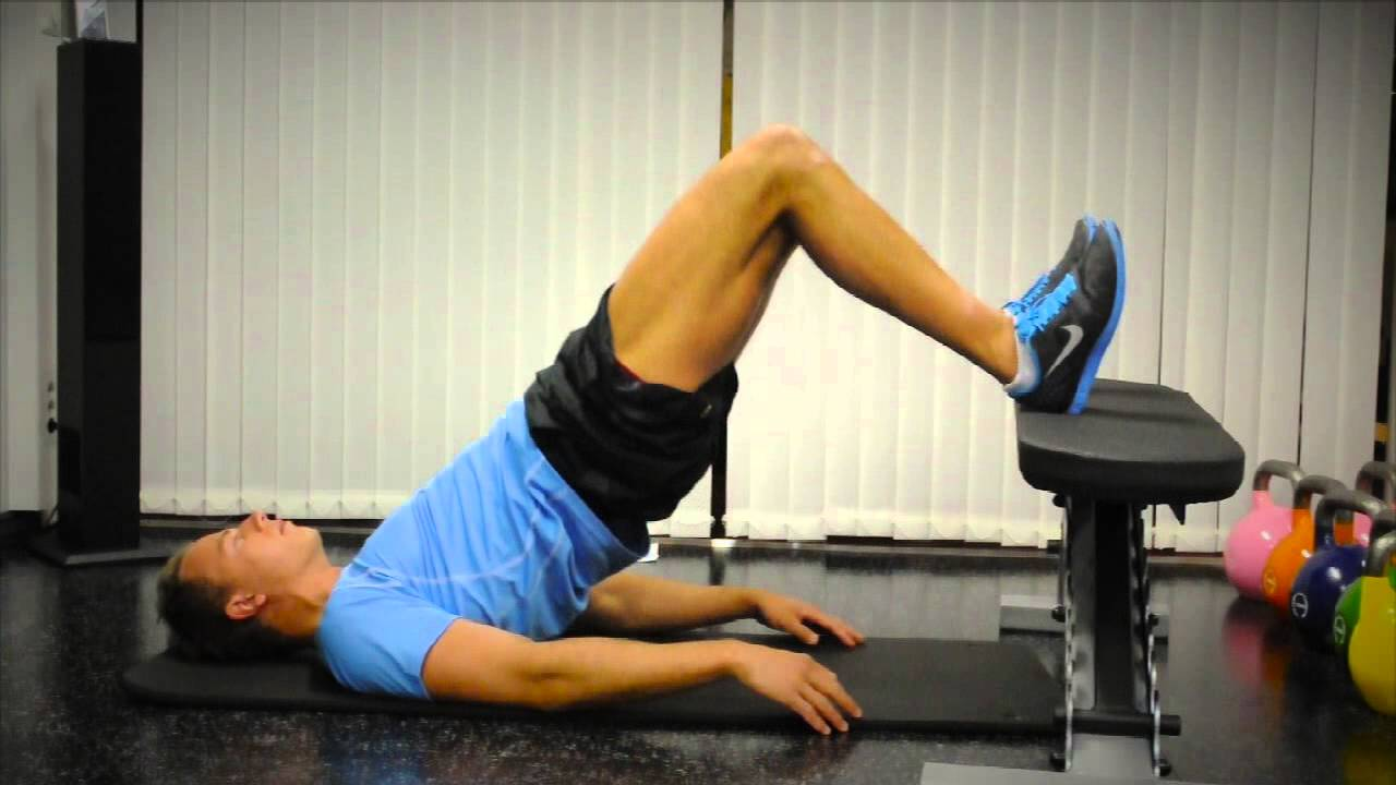 Glute bridges on bench