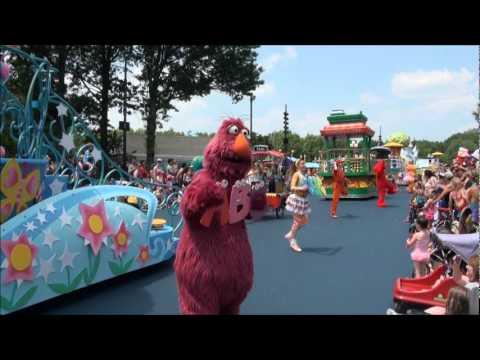 Sesame Place Neighborhood Street Party Parade part 1wmv