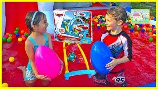 disney cars bath toys hydro wheels giant surprise eggs opening pixar lightning mcqueen kids video