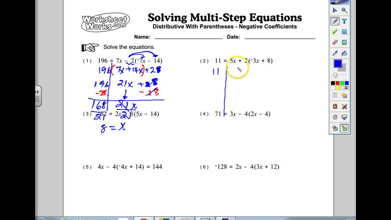 Multi-step equations with distribution