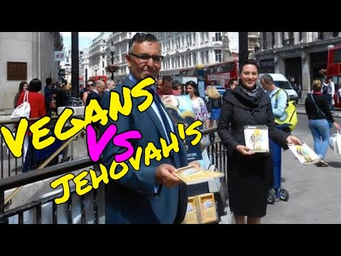 VEGAN CONFRONTS JEHOVAH'S WITNESS at Norwich Vegan Outreach Day