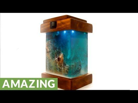 DIY night lamp: Miniature landscape in winter scenery
