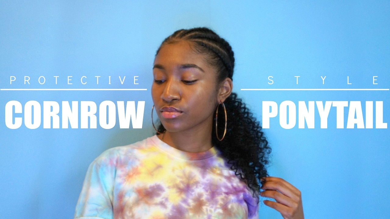 Protective Style Curly Cornrow Braided Ponytail Youtube