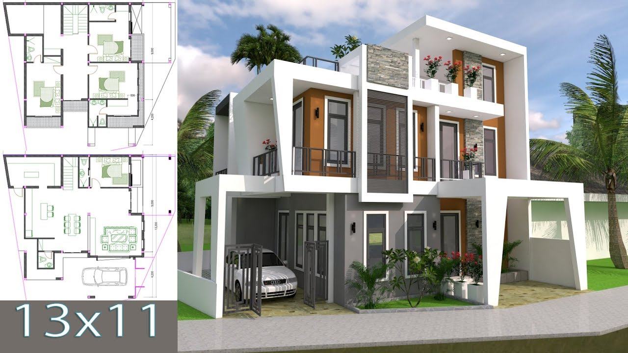 Home Design Plan 13x11m With 4 Bedrooms Plot 13x15 Sketchup Villa Full