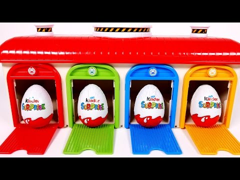 Thumbnail: Learn Colors with Garage Parking Playset for Children and Kinder Surprise Eggs
