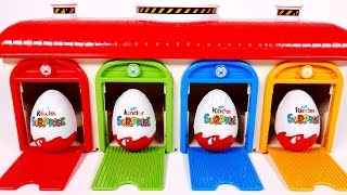 Learn Colors with Garage Parking Playset for Children and Kinder Surprise Eggs
