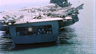 Vice Admiral Moorer with Chiang Kai Shek inside hangar at USS Constellation CVA-6...HD Stock Footage