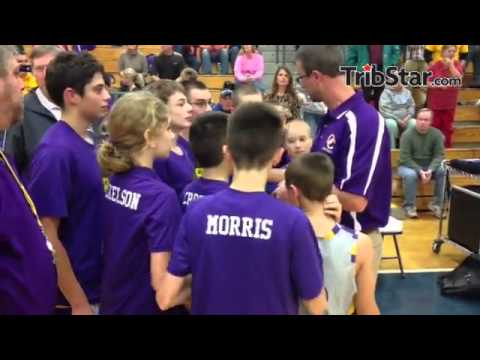 Otter Creek Middle School sixth-grade boys basketball celebrates its county championship win at TH N