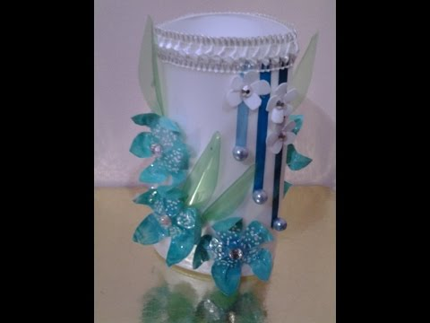 Best Out Of Waste Plastic Bottles Transformed To Decorative Flower Vase Youtube