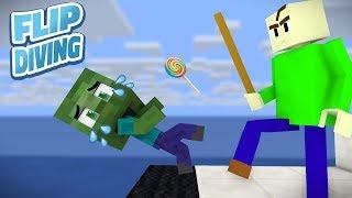 Monster School: Baldi's Flip Diving Challenge - Minecraft Animation