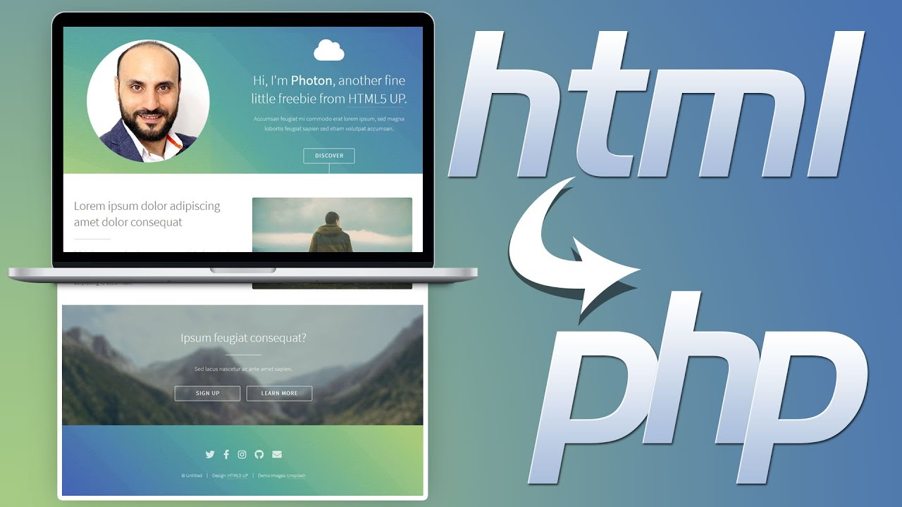 تحويل تصميم الموقع إلى ملفات بي اتش بي PHP
