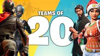 *NEW FORTNITE GAMEMODE!* 20 PERSON TEAM MODE in Fortnite Battle Royale!