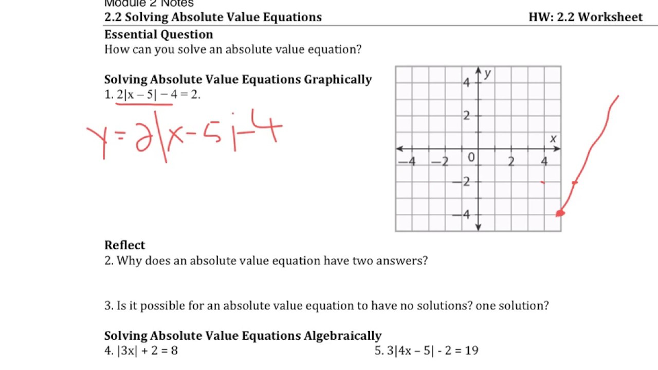 2 2 Solving Absolute Value Equations Youtube