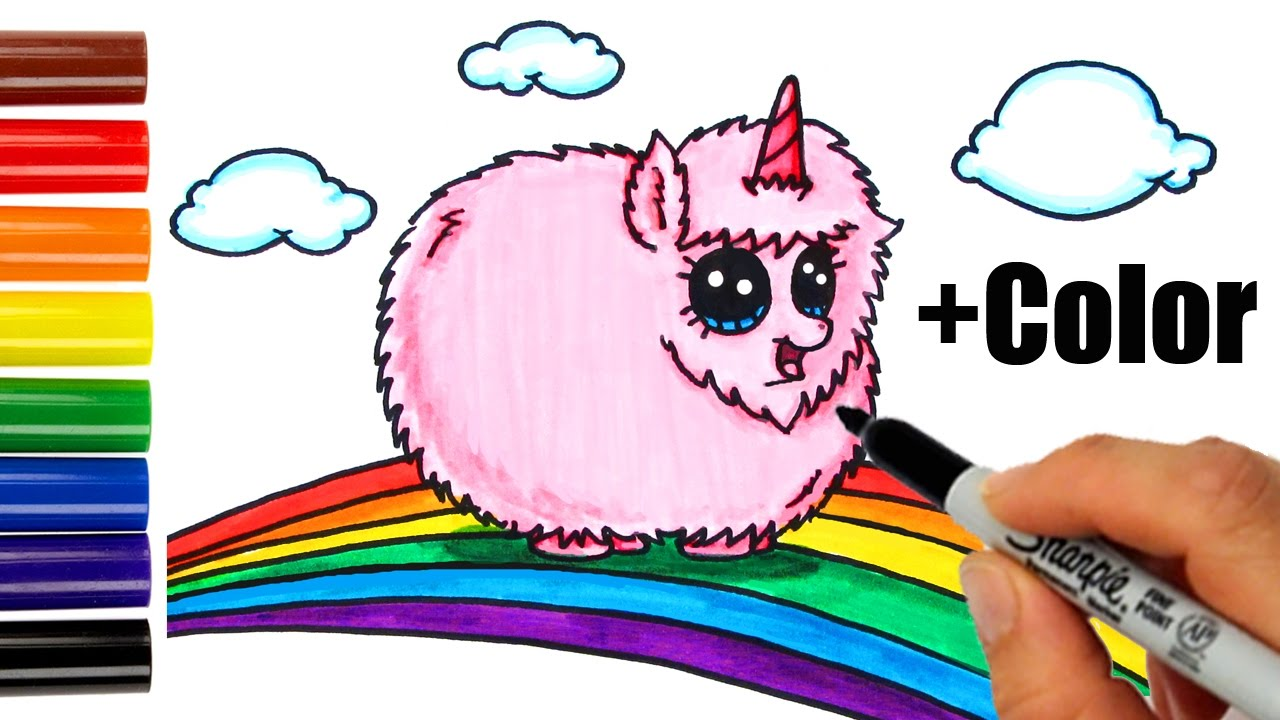Cute Frappuccino Wallpaper How To Draw Color Pink Fluffy Unicorn Dancing On Rainbow
