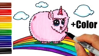 How to Draw + Color Pink Fluffy Unicorn Dancing on Rainbow step by step