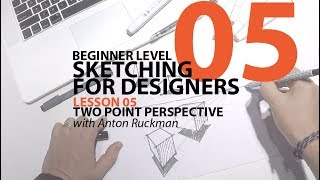 How to Sketch TWO POINT PERSPECTIVE. Sketching for Product Designers Tutorial. Beginner01