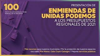 Unidas Podemos enmienda los presupuestos regionales para garantizar inversiones en los municipios