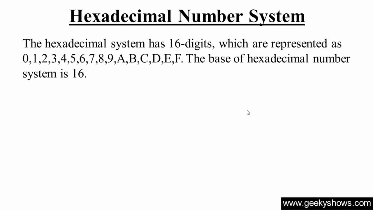 Hexadecimal Number System Hindi Youtube