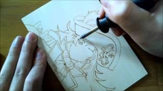 焦がし絵制作風景、32倍速。 絵はモーレツ宇宙海賊、加藤梨理香。