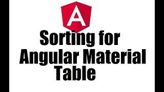 Angular 8 #11; Sorting in Angular Material Table