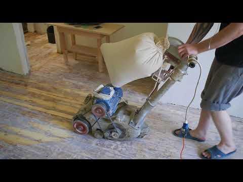 Циклевка деревянного пола , после снятия краски с лакировкой полеуретановым лаком
