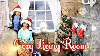 How To Make A Cozy Doll Living Room & Realistic Fireplace - Doll Crafts