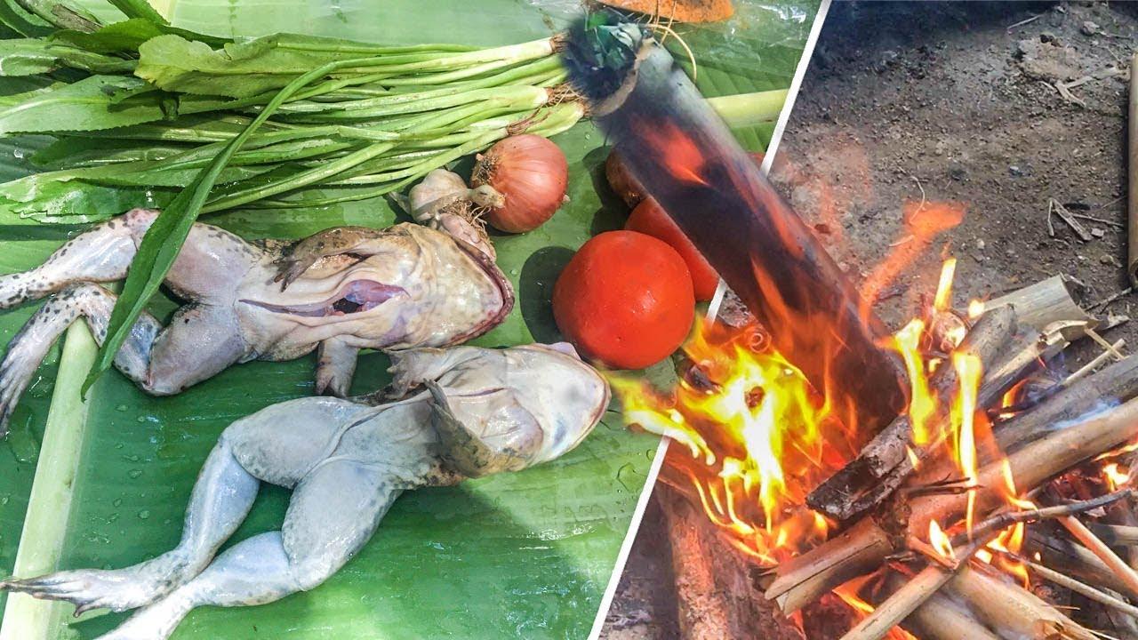 เอาชีวิตรอด ทำอาหารในป่า กบเผาในกระบอกไม้ไผ่